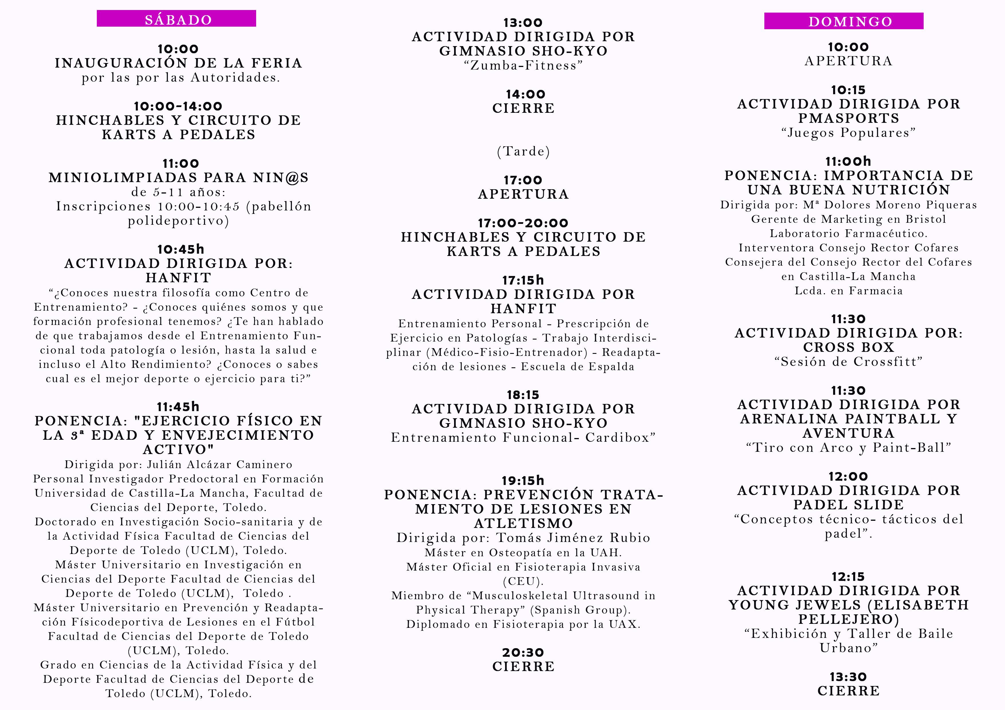Programa Feria del Deporte